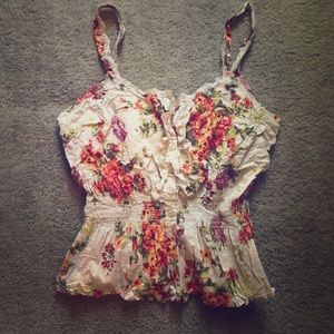 Tops - Floral, lace tank top